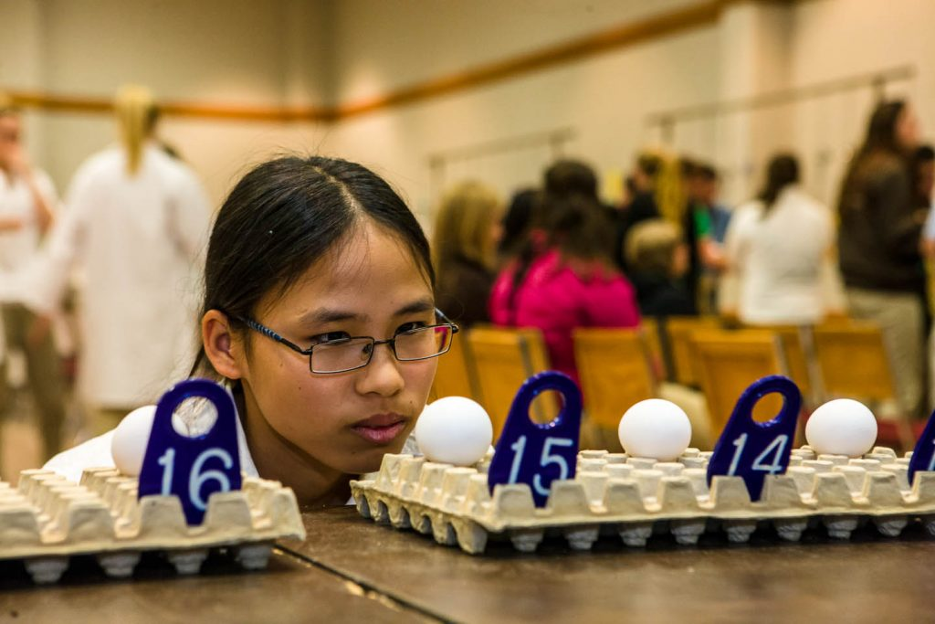 A 4-Her giving oral reasons on a class of past production hens at the national poultry judging contest.