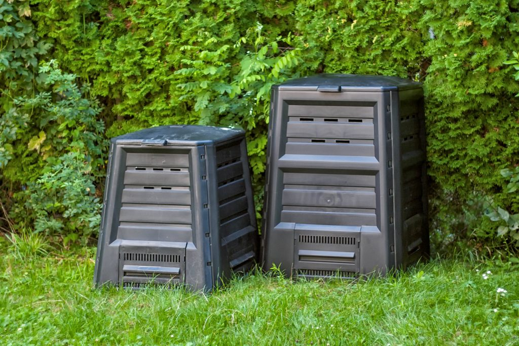 Different sizes of small-scale composters